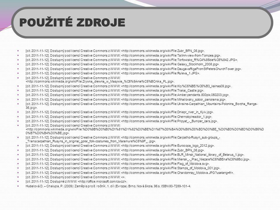 POUŽITÉ ZDROJE [cit. 2011-11-12]. Dostupný pod licencí Creative Commons z WWW: <http://commons.wikimedia.org/wiki/File:Zubr_BPN_06.jpg>.